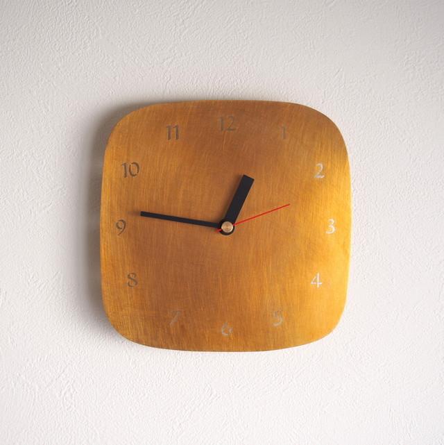 真鍮 しかく時計 18㎝
