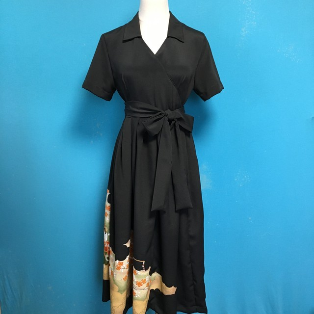 Vintage black kimono wrap dress/ US 8, kawaii
