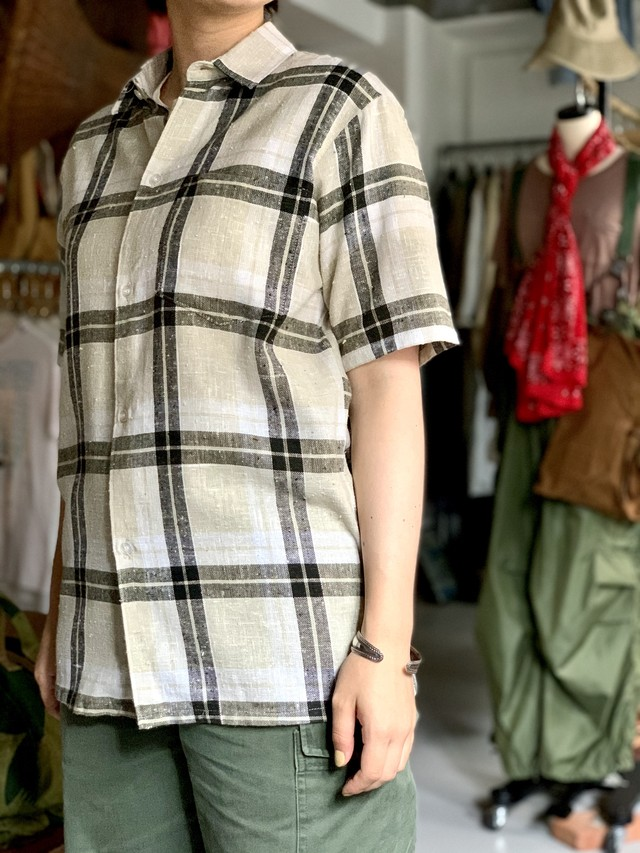 "80's old ""s/s check shirts"" ""linen fabric"""
