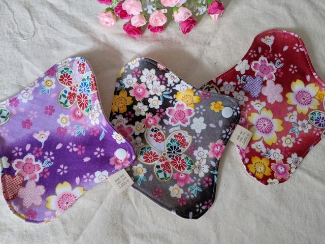 布ナプキン Sサイズ 和風花柄 おりものライナーに最適