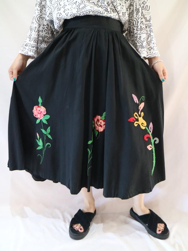 -60s flower embroidery circular skirt【1082】