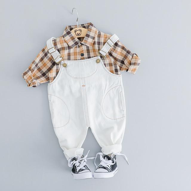 【子供服】優しい雰囲気チェック柄シャツ/デニムストラップ2点セット20520469
