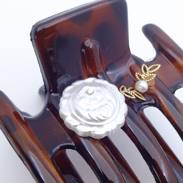ヘアクリップ スターリリー ボヘミアングラス 淡水パール ブラウン ホワイト 薔薇 151078