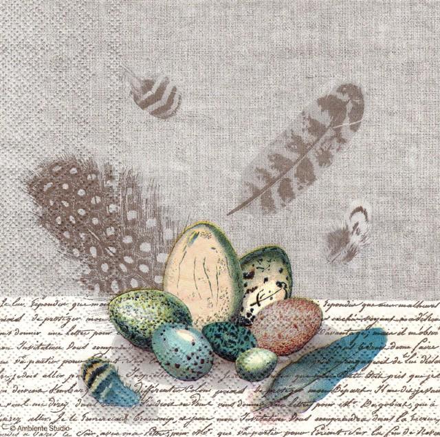 【Ambiente】バラ売り2枚 ランチサイズ ペーパーナプキン Birds Nest ベージュ