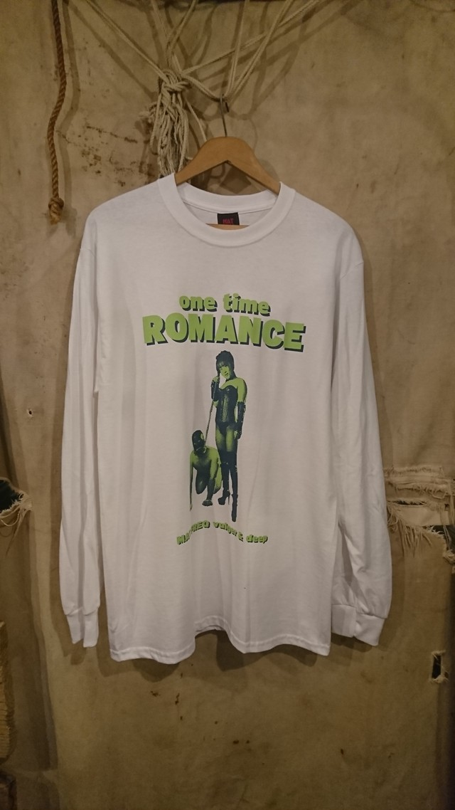 "MAT FREQ ""ONE TIME ROMANCE LS TEE""  White/Melon×Navy Color"