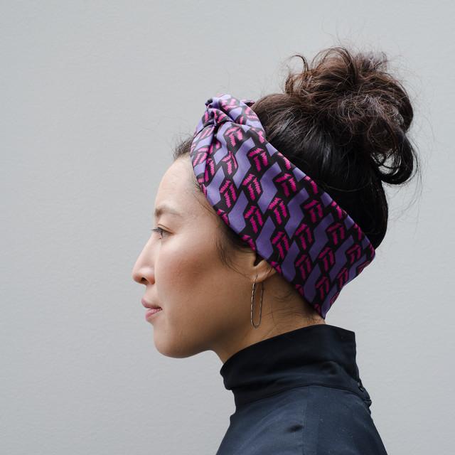Silk 'ZIG ZAG' ヘッドスカーフ/ミニスカーフ