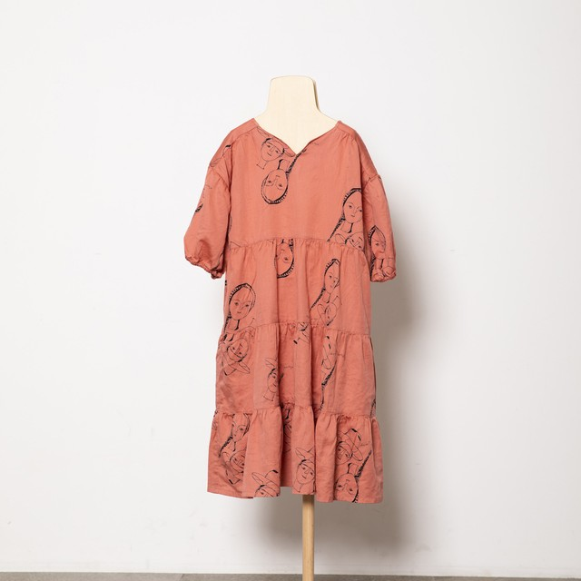 folk made  face print dress (pinck rose print) M・Lサイズ F21SS-012 ※メール便1点までOK