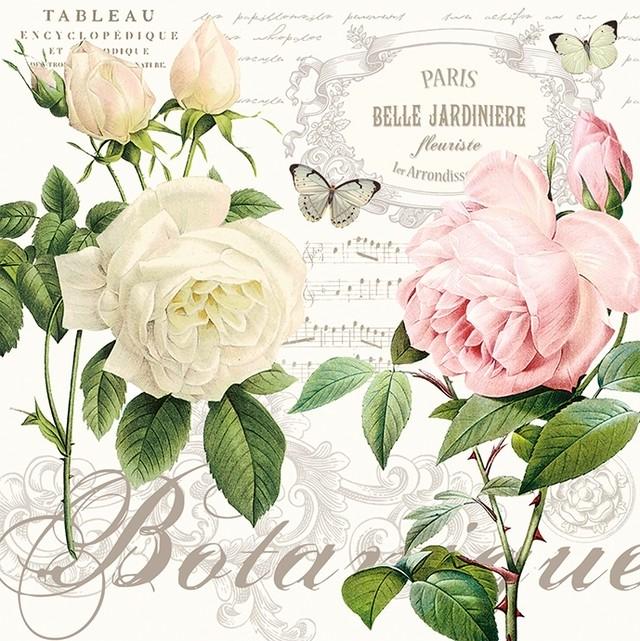 【Easy Life】バラ売り2枚 ランチサイズ ペーパーナプキン  JARDIN BOTANIQUE ホワイト