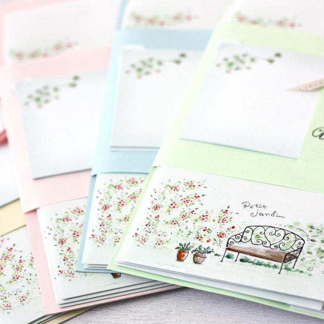 メッセージも届けられる封筒セット『 petit jardin (小さなお庭) 』 ~ Atelier Luce ~