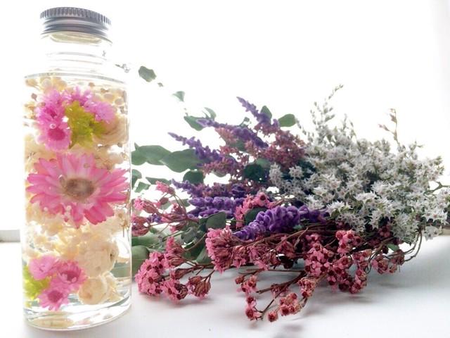 ハーバリウム(S) 小花とヘリクリサム ピンク