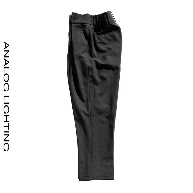 Cross Tuck Pants WOOL/BLACK