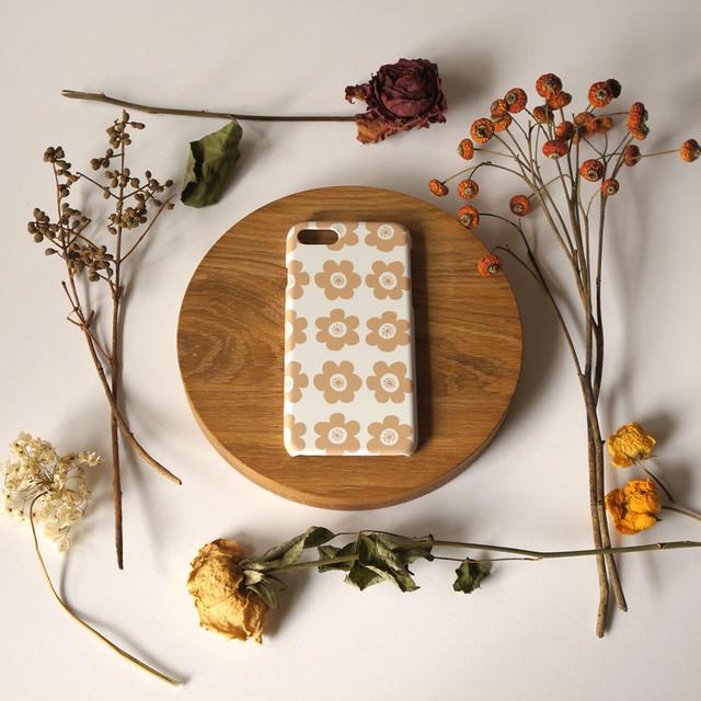 【iPhone / Android 各機種専用タイプ】側表面印刷*ハード型*スマホケース「 anemone ( beige )」● 受注生産