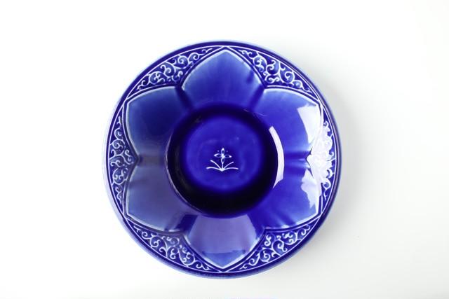 瑠璃釉陽刻文鉢 美濃焼