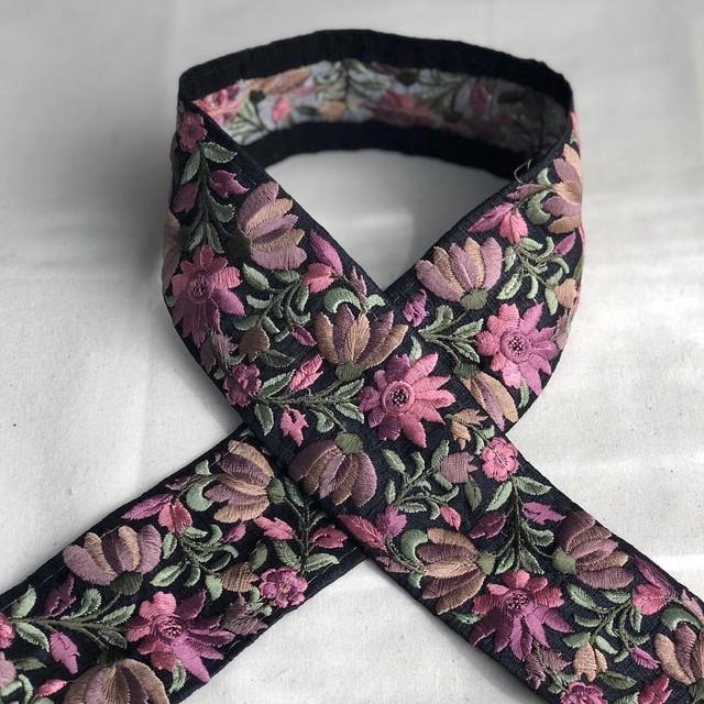 インド刺繍リボン バイオレット×ブラック ins-0056bb
