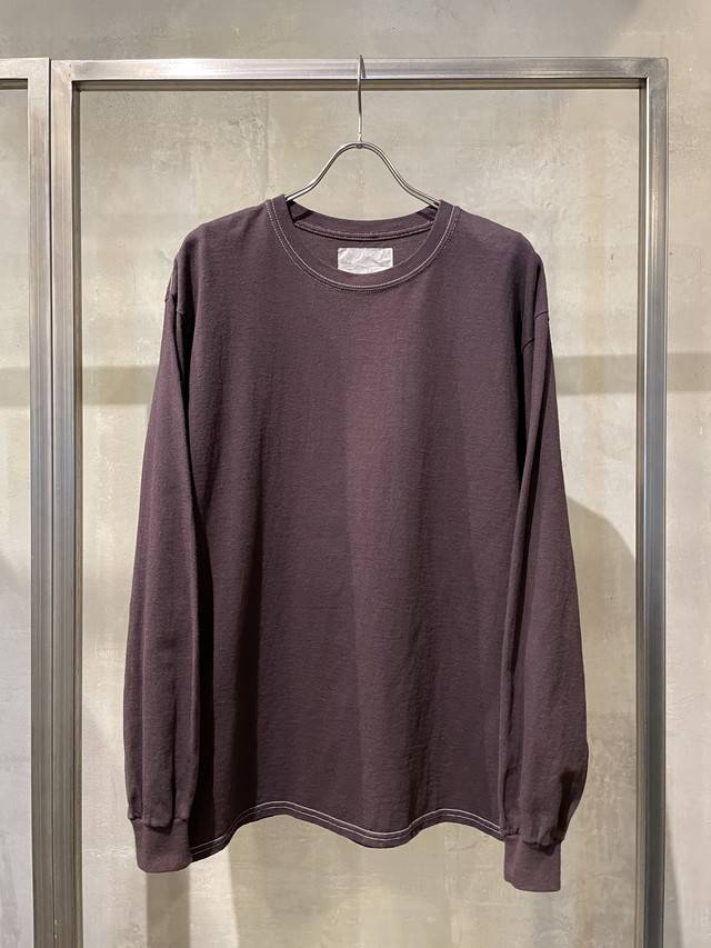 TrAnsference loose fit long sleeve T-shirt - dark plum garment dyed