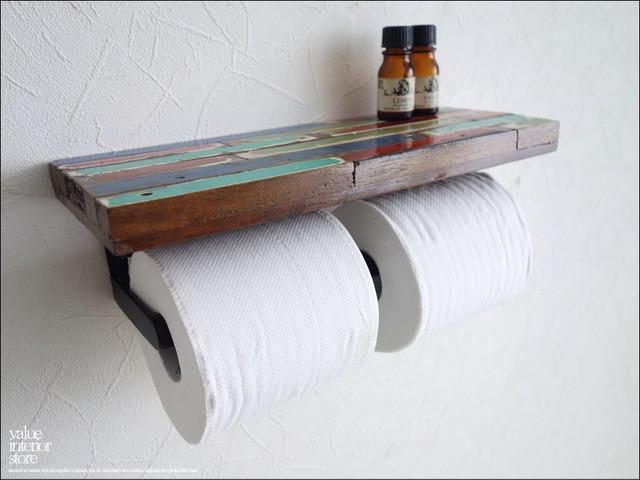 オールドチークトイレットペーパーホルダー30cmMIX トイレペーパーホルダー 収納棚付き 手作り 天然木 無垢材 トイレ用品 レトロ調