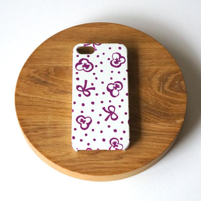【iPhone / Android 各機種専用タイプ】側表面印刷*ハード型*スマホケース「スミレとリボンと水玉 ( purple ) 」● 受注生産