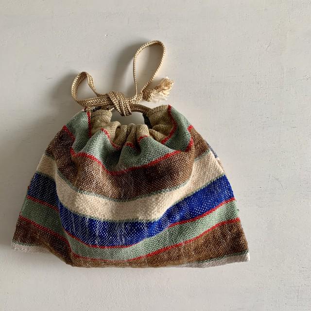 オールドファブリックの巾着バッグ