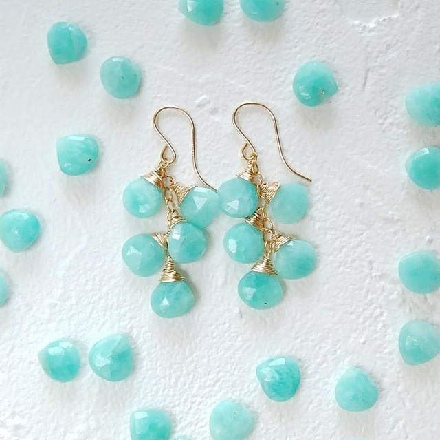 送料無料14kgf*Amazonite earring / pierced earring