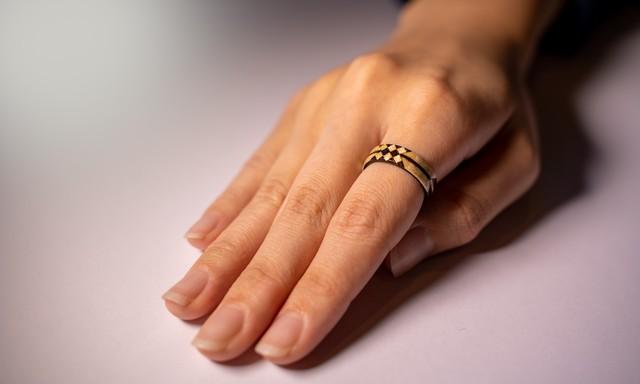 【木の指輪】絢-aya- 矢絣【ベントウッドリング】