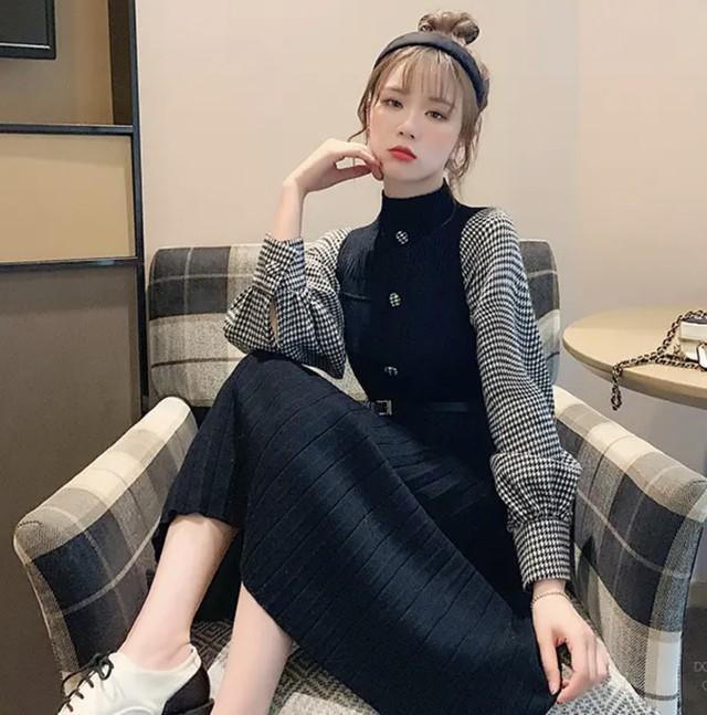 【韓国レディースファッション】 6235 異素材MIX レイヤード風 千鳥格子柄 ニット ワンピース プリーツスカート