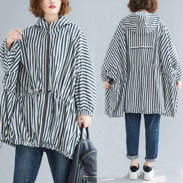 【outer】ファッション長袖着痩せストライプ柄フード付き合わせやすい厚手トレンチコート