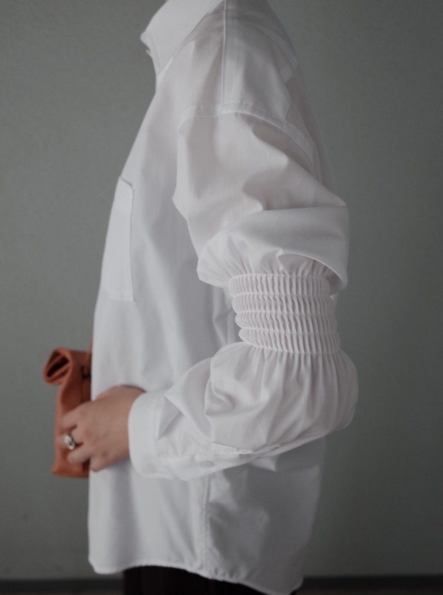 【ALLEGE】Gather Sleeve Shirt (white)