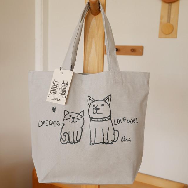 トートバッグ[Love cats, Love dogs.1]S シルバーグレー