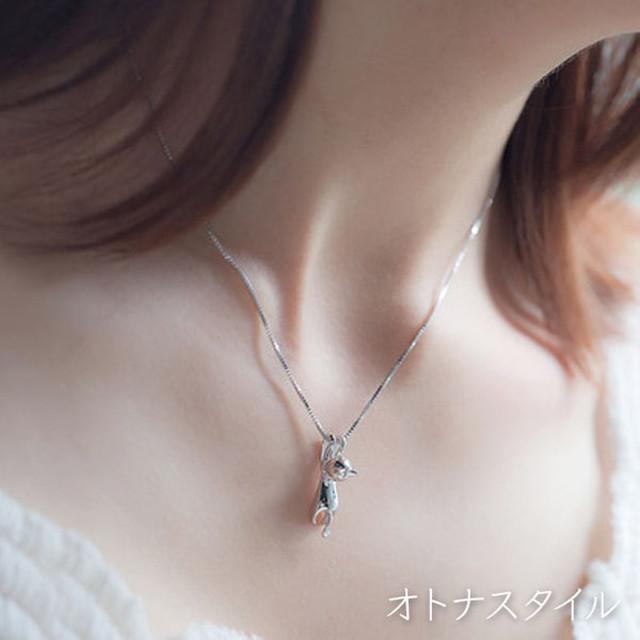 【予約】シルバー アクセサリー ネックレス ねこ モチーフ