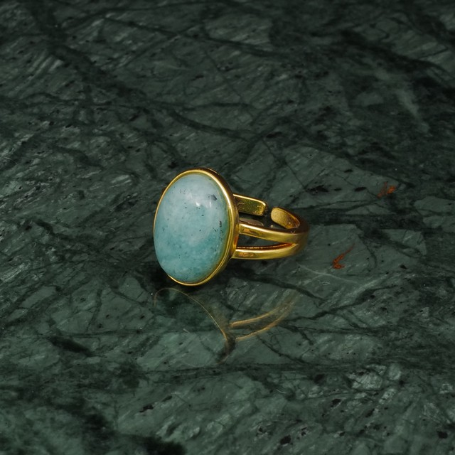 OVAL BIG STONE RING GOLD 013