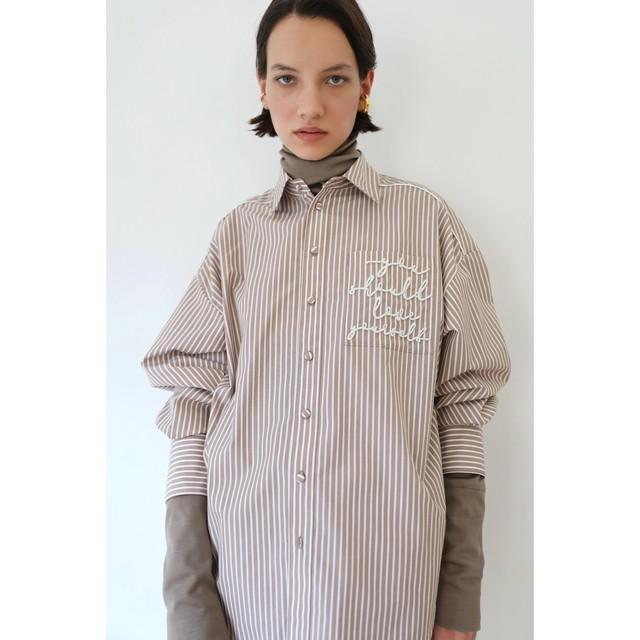 GIZA×スーピマコットン刺繍ストライプパイピングシャツ