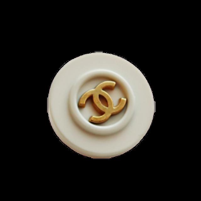 【VINTAGE CHANEL BUTTON】ミントブルー縁取り ゴールド ココマークボタン 16mm C-20072
