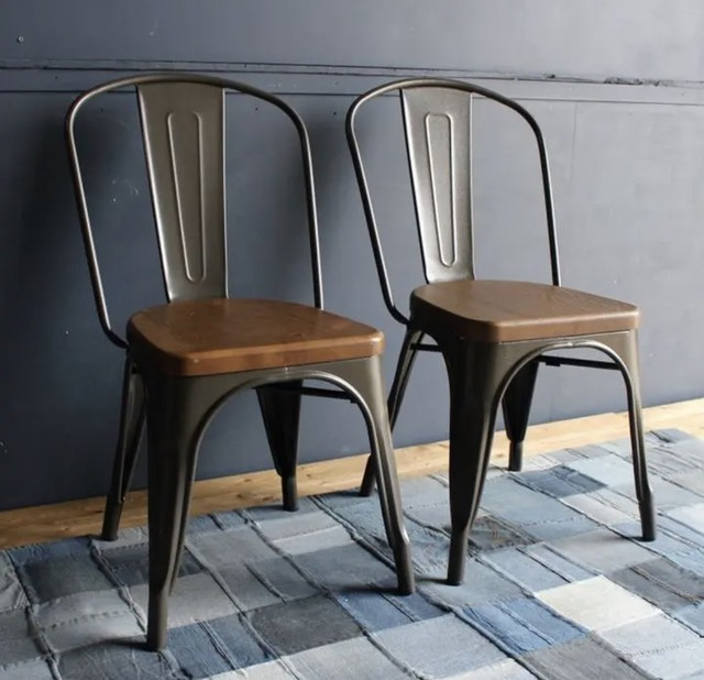 Steel Wood Cafe 2 Chairs / インダストリアルスタイル スチールウッド カフェチェア 2脚セット