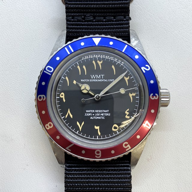 W.MT WATCH SEA DIVER Small Crown UAE Limited  PILOT Blue/Red (AGED CASE) WMT205-02