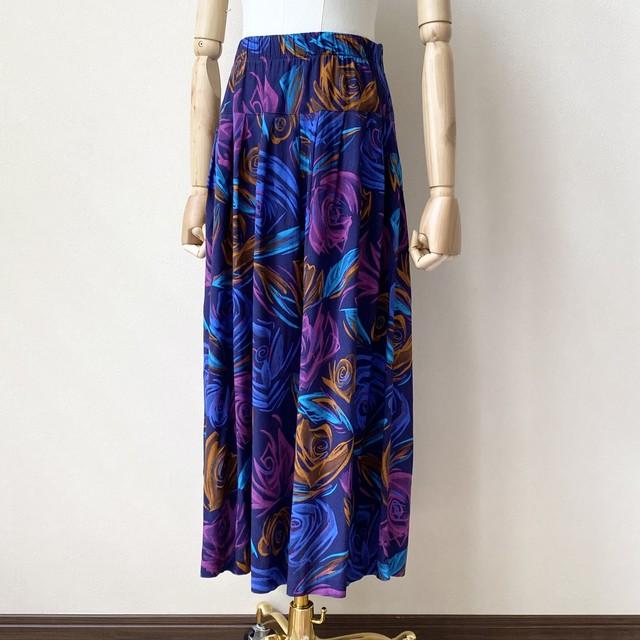 レディース 80年代 USA製 ハンドペイント風 ローズ柄 ギャザースカート アメリカ 古着 レーヨン ネイビー 日本L