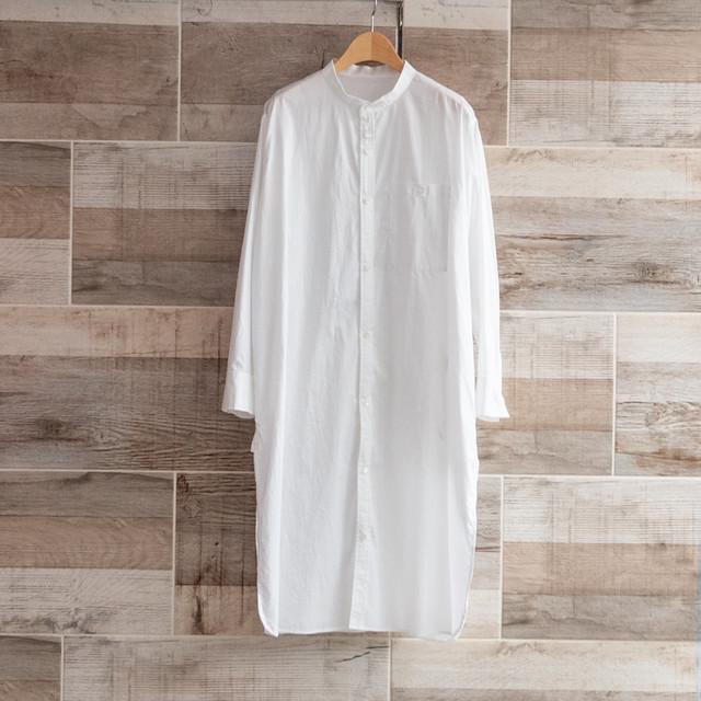 【PASSIONE/パッシオーネ】バンドカラーロングシャツ(ホワイト)