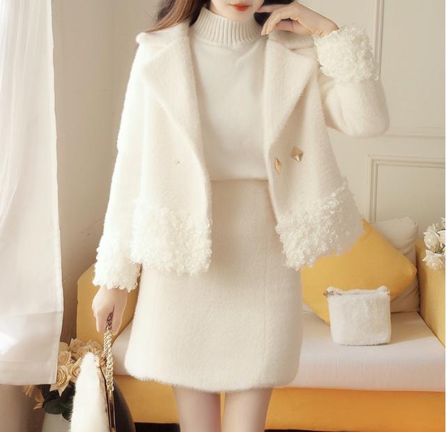 2020年秋冬新作  暖かくて柔らかいジャケット+ショートスカート【YN2101】