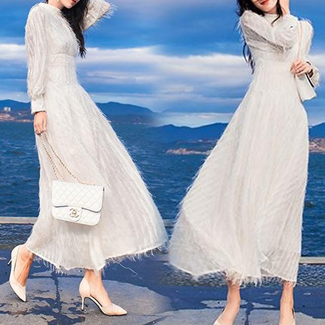 イブニングドレス フリンジ 長袖 薄手 レディース