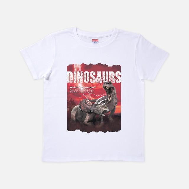 Tシャツ[リアルダイナソー]ティラノvsトリケラ ホワイト色