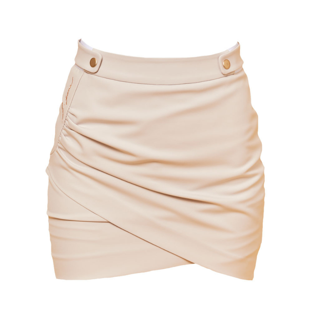 Solid snap shirring skirt(Beige)