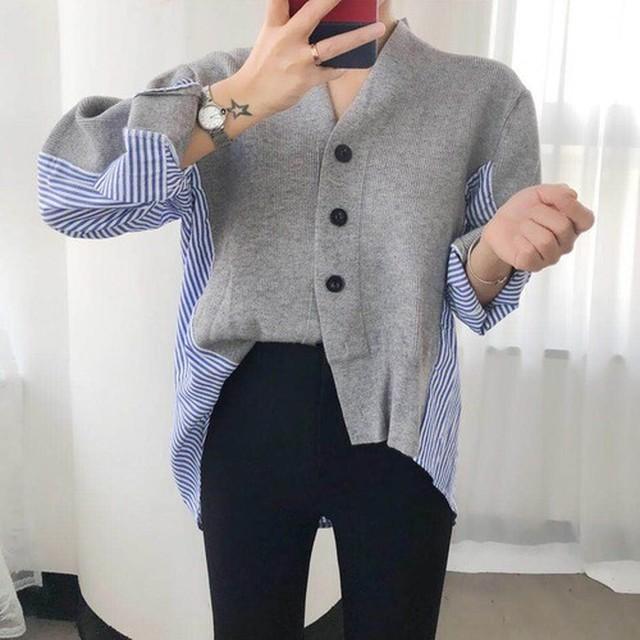 Vネックストライブシャツセーター