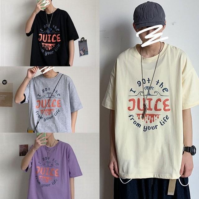 ユニセックス 半袖 Tシャツ メンズ レディース JUICE 英字 プリント オーバーサイズ 大きいサイズ ルーズ ストリート TBN-613419320057