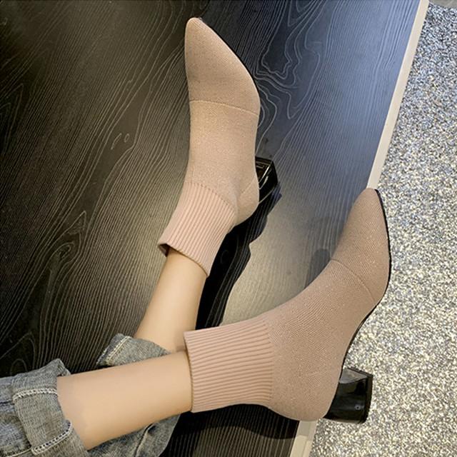 【配送優先】【シューズ】簡約無地ミドルヒールポインテッドトゥショート丈ブーツ23120080