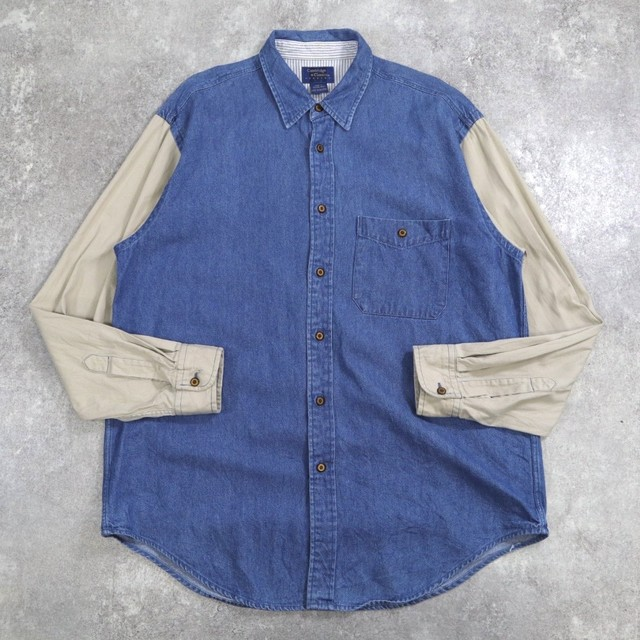 switching denim design shirt