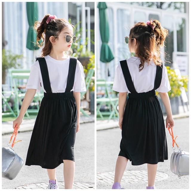 110〜160cm ★ セットアップ  Tシャツ+サスペンダースカート  半袖 ツーピース