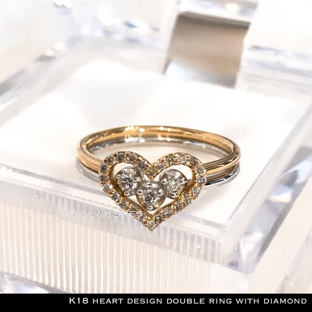 リング 18金 ハート k18  2本で1本 重ね付け 天然 ダイヤモンド付き   :  k18 /k18wg  heart ring  with diamond