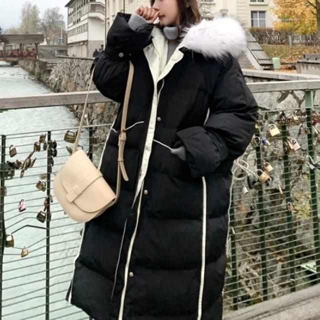 【冬物セール40%OFF】即日発送 ボリュームファー ロング丈 ダウンコート ブラック C0078