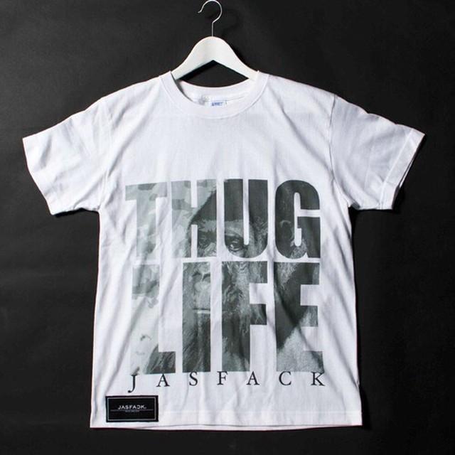 THUG LIFE(Gorilla).Tee (JFK-006) - White