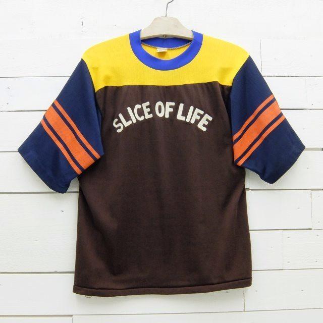 1970's Champion チャンピオン バータグ クレイジーパターン フットボールTシャツ チェーンステッチ ビンテージ メンズ Mサイズ made in usa