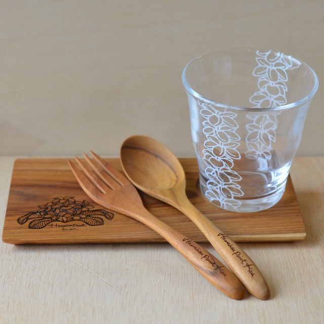 Hawaiianpaint KAN Gift L set (Wood plate L / Wood spoon&fork / Glass)